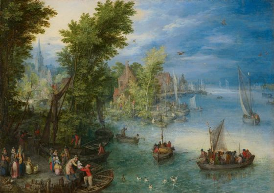 Brueghel the Elder, Jan: River Landscape. Fine Art Print/Poster. Sizes: A4/A3/A2/A1 (004084)